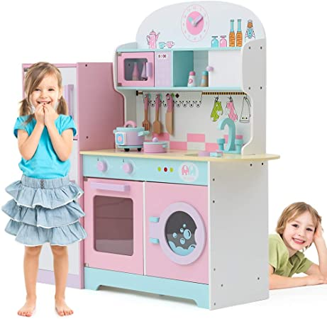 Tribesigns Kids Play Kitchen With Fridge Large Children S Role Play Pretend Wooden Toy Kitchen Set Pink Amazon Co Uk Kitchen Home