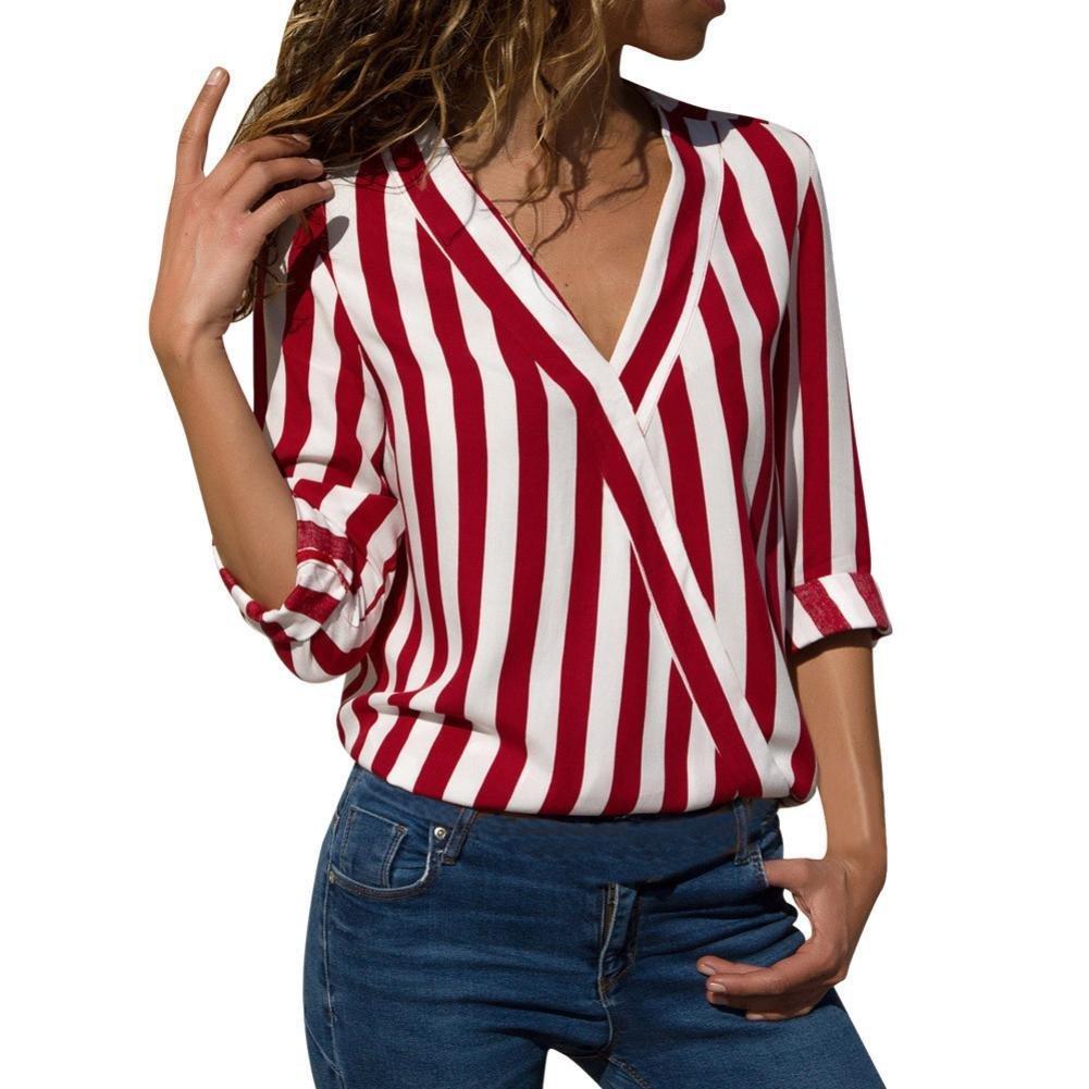 Caopixx Women Blouse Short, Women Summer Appliques Rose Short Sleeves Tops Striped T Shirts (Asia Size S, Red1)