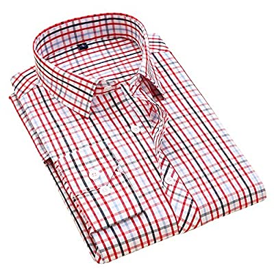 Alimens & Gentle 100% Cotton Men Long Sleeve Plaid Dress Shirt
