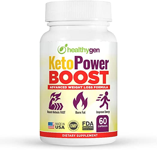HEALTHYGEN KetoPower Boost Premium Keto Diet Pills – Boost Ketosis and Use Fat for Energy – Boost Energy Focus, Manage Cravings, Support Metabolism – Keto BHB Supplement for Women and Men