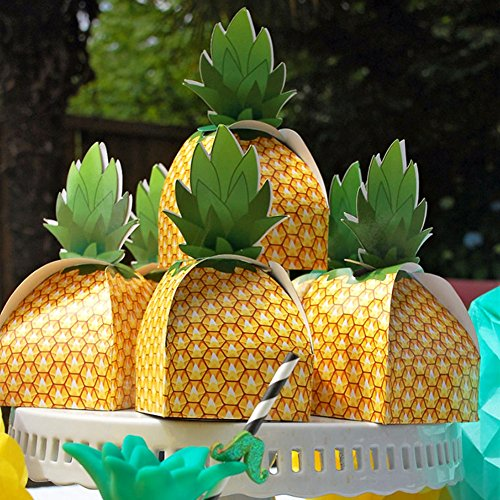 OurWarm PartyTalk 48pcs Pineapple Favor Boxes 3D Large Pineapple Gift Boxes Tropical Hawaiian Luau BBQ Summer Beach Pool Fruit Party Decorations (Gold Element Truffles)