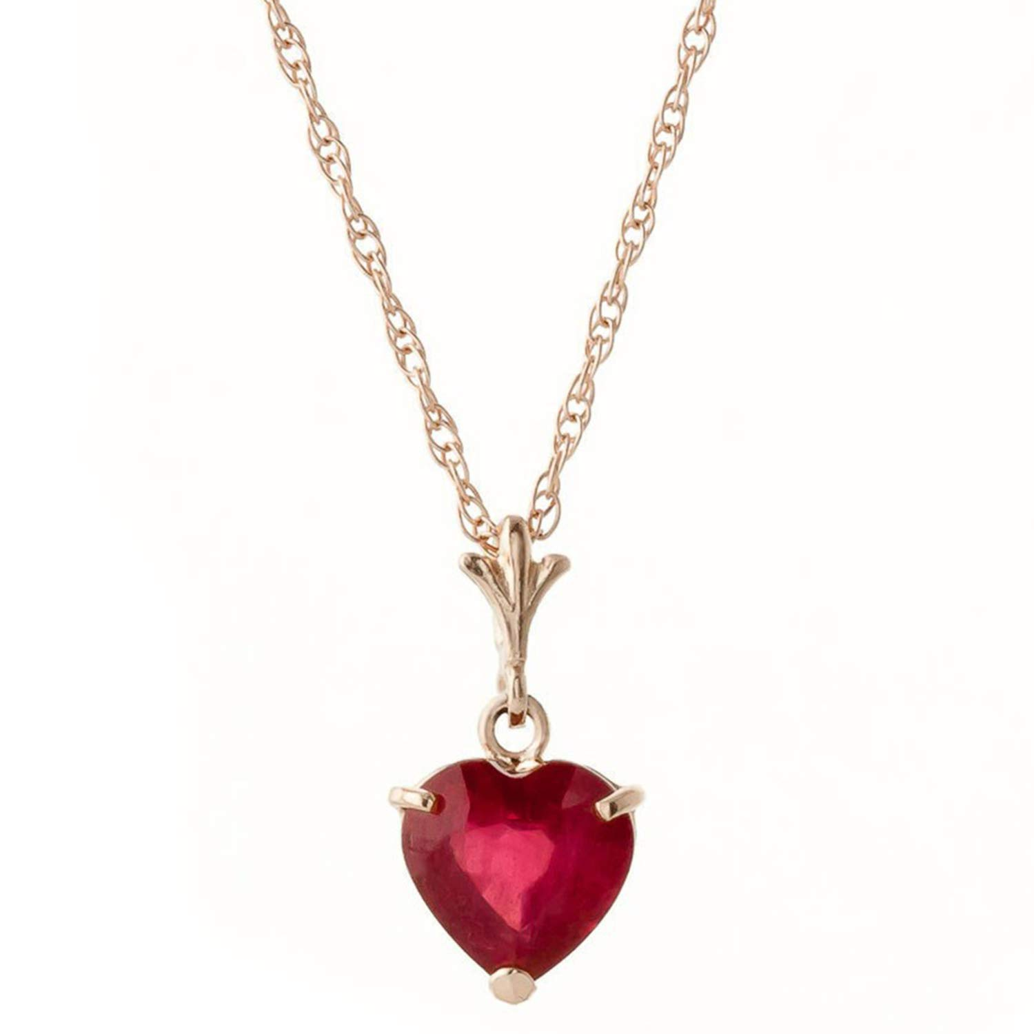 Galaxy Gold 1.45 Carat High Polished 14k 14'' Solid Rose Gold Pendant Necklace with Heart Shape Natural Ruby - Heat Treated