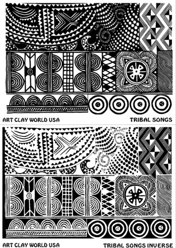 FlexiStamps Texture Sheet Set Tribal Songs Designs (Including Tribal Songs and Tribal Songs Inverse)- 2 - For Rubber Stamps Clay Polymer