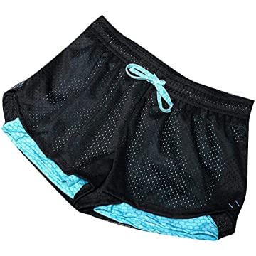 lantusi Women Casual Soft Breathable Drawstring Waist Patchwork Sport Shorts Active Shorts