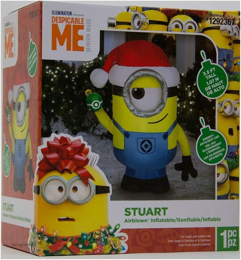 Lighted Airblown Inflatable Stuart the Minion Wearing a Santa Hat Holding a Present 3.5-foot Tall Holiday Yard Decorations