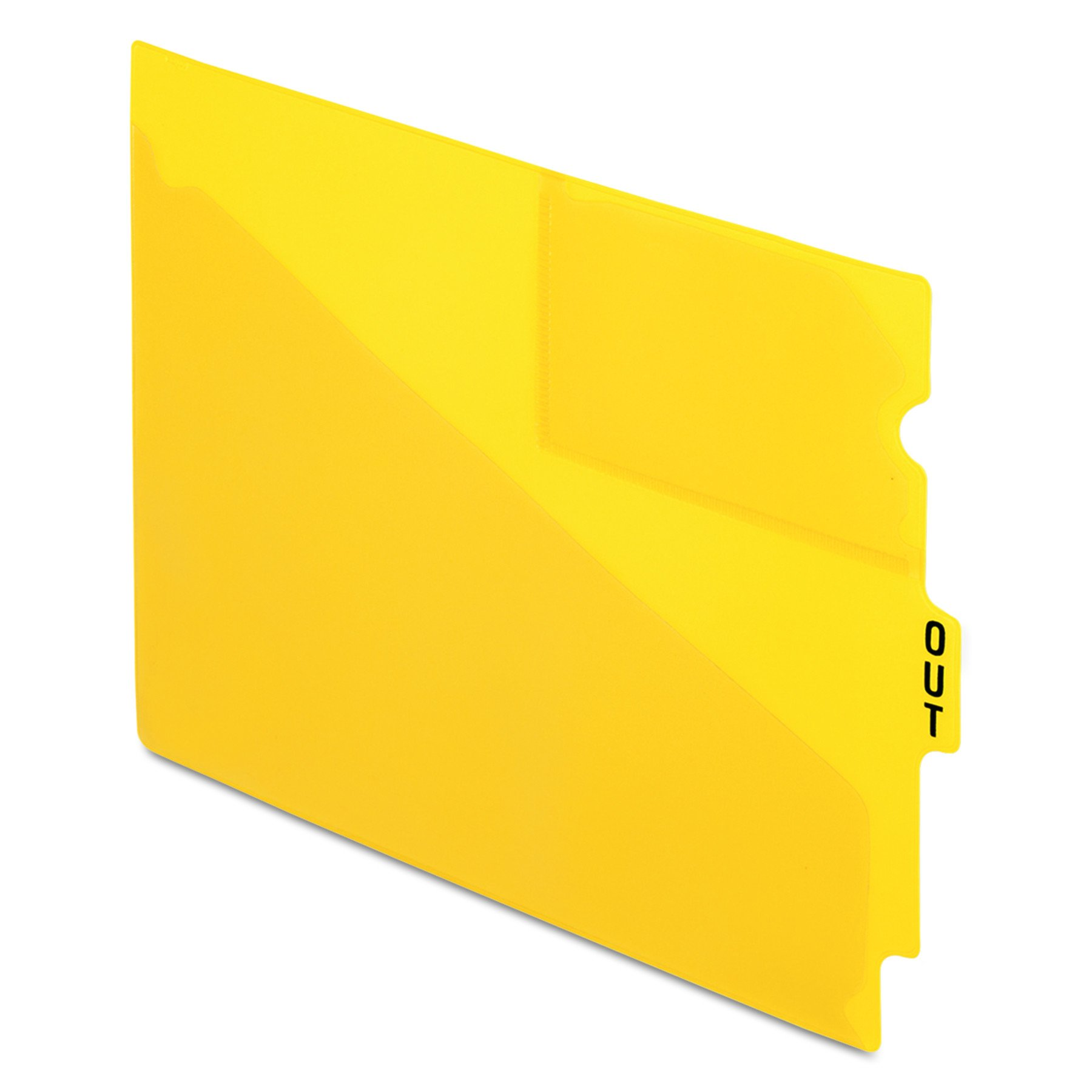 Pendaflex 13544 End Tab Vinyl Outguides w/Center Tab Printed Out, Letter Size, Yellow, 50/box