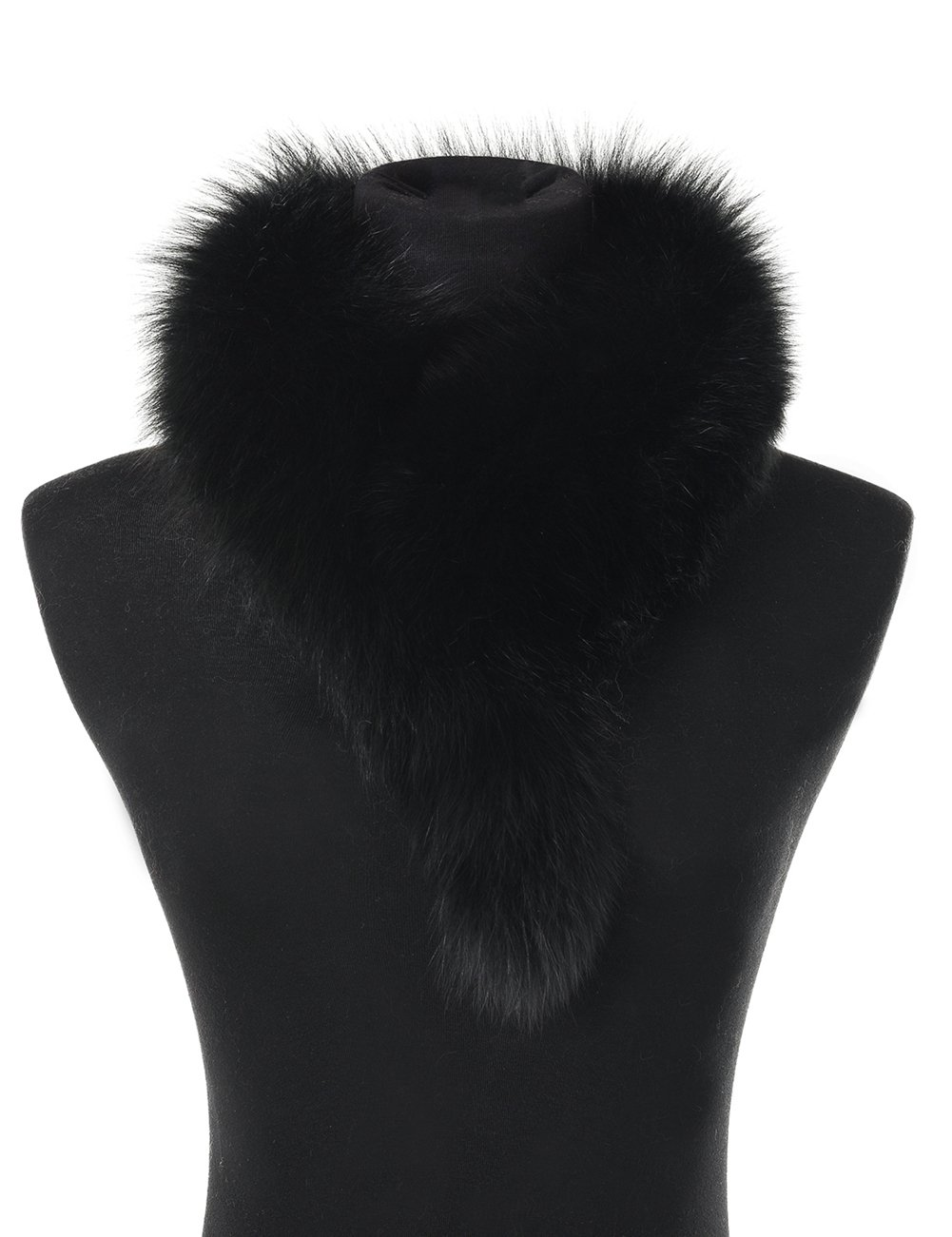 Ferand Ladies Elegant Real Fox Fur Collar Scarf Wrap for Women, Black