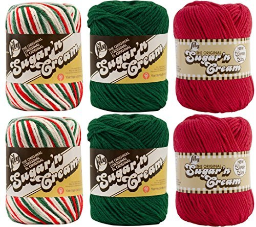 Variety Assortment Lily Sugar'n Cream Yarn 100% Cotton Solids and Ombres Holiday Bundle (6-Pack) Medium #4 Worsted by Spinrite®