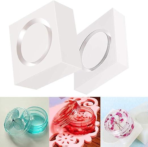 rungao 2pcs caja de almacenamiento de fundición de resina de silicona molde joyería molde DIY Craft hacer: Amazon.es: Hogar