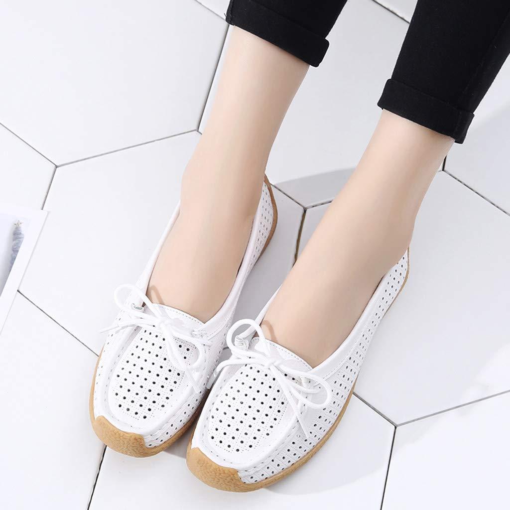 GreatestPAK Mesdames Bowknot Comfort /évider Respirant Grande Taille Chaussures de Travail de Voyage Occasionnels Baskets Femme Bateau Mocassin