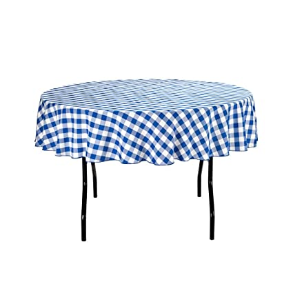 LinenTablecloth 70 Inch Round Polyester Tablecloth Blue U0026 White Checker