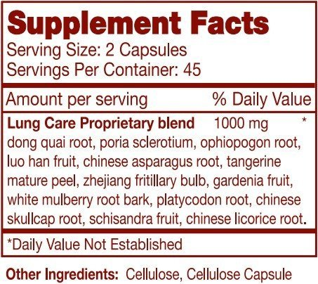 GNS Super Strength Lung Care, All Natural, 1000mg, 90 Capsules, SPECIAL HERBAL FORMULA!