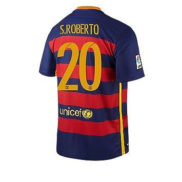 NIKE S.ROBERTO #20 Barcelona Camiseta 1ra Futbol 2015/2016 (Nombre Auténtico Y Número) - (US TAMAÑO) (2XL): Amazon.es: Deportes y aire libre