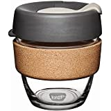 KeepCup 8z Reusable Coffee Cup. Toughened Glass & Non-Slip Band. 8-Ounce/Small, Press