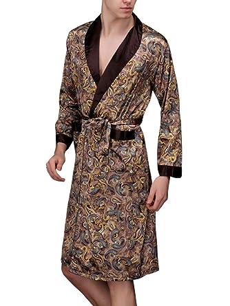 Albornoz Bata de Baño para Hombre de Satén Camisón de Pijama: Amazon.es: Ropa y accesorios