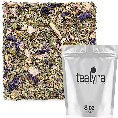 Tealyra - French Countryside - Fennel - Lemon Balm - Peppermint - Lavender - Sage - Herbal Loose Leaf Tea - Calming Relaxing Bed Time Tea - Caffeine Free - 224g (4-ounce)