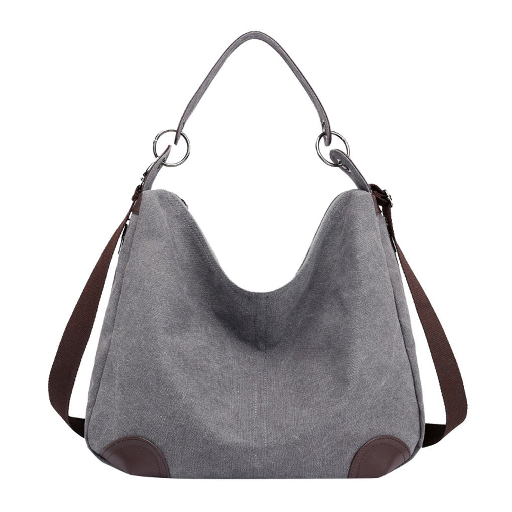 Lonson Women's Canvas Hobo Totes Bags Casual Shoulder Bag Travel Handle Handbag (Grey)