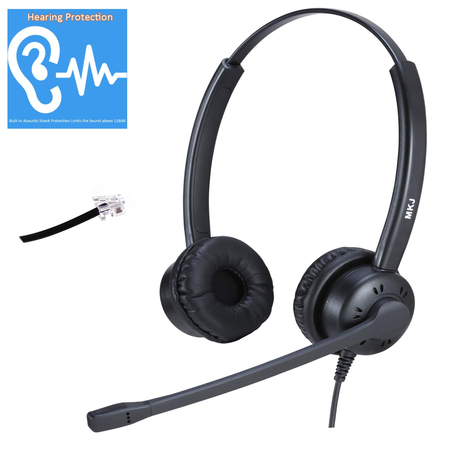 MKJ Office Headset VoIP Headset Binaural with Noise Cancelling Microphone Compatible with Panasonic, Snom, Grandstream, Yealink, Htek by MKJ