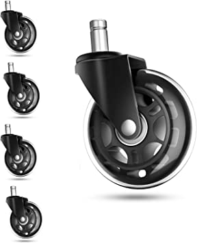 YeMI 2 IKEA Chair Caster Replacement with 10mm Diameter Stem Castor Wheel for Office Chair,Computer Chair,Safe for Hardwood Floor Set of 5,Gray