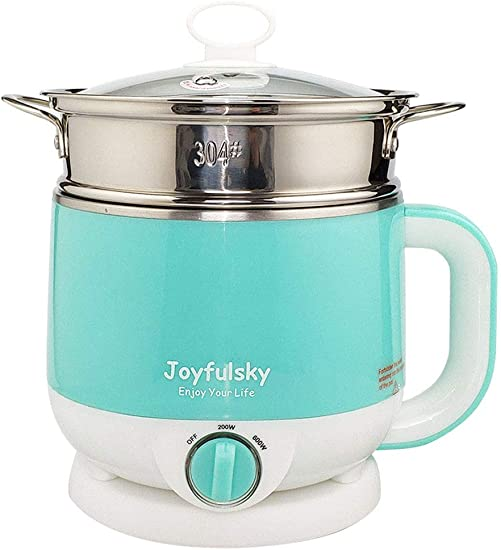 Joyfulsky 1.5L Electric Hot Pot with Food Steamer and American Plug, Electric Cooker 110V 600W Green Color Renewed