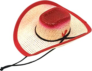 466535f925d8f Modestone Straw Pet Cowboy Hat Elastic String Feather Red