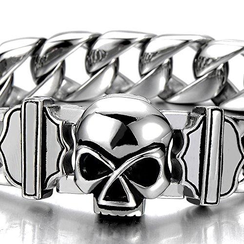 Unique Bracelet Crâne Gourmette Homme Acier inoxydable - Fermoir Magnétique - Couleur Argent
