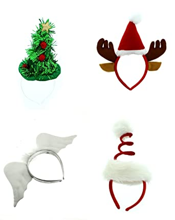 b308fc6b430e Zac s Alter Ego® Pack of 4 Assorted Christmas Headbands Head Boppers  Amazon .co.uk  Clothing