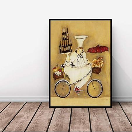 Pinturas de lienzo de dibujos animados Pan francés Arte divertido ...