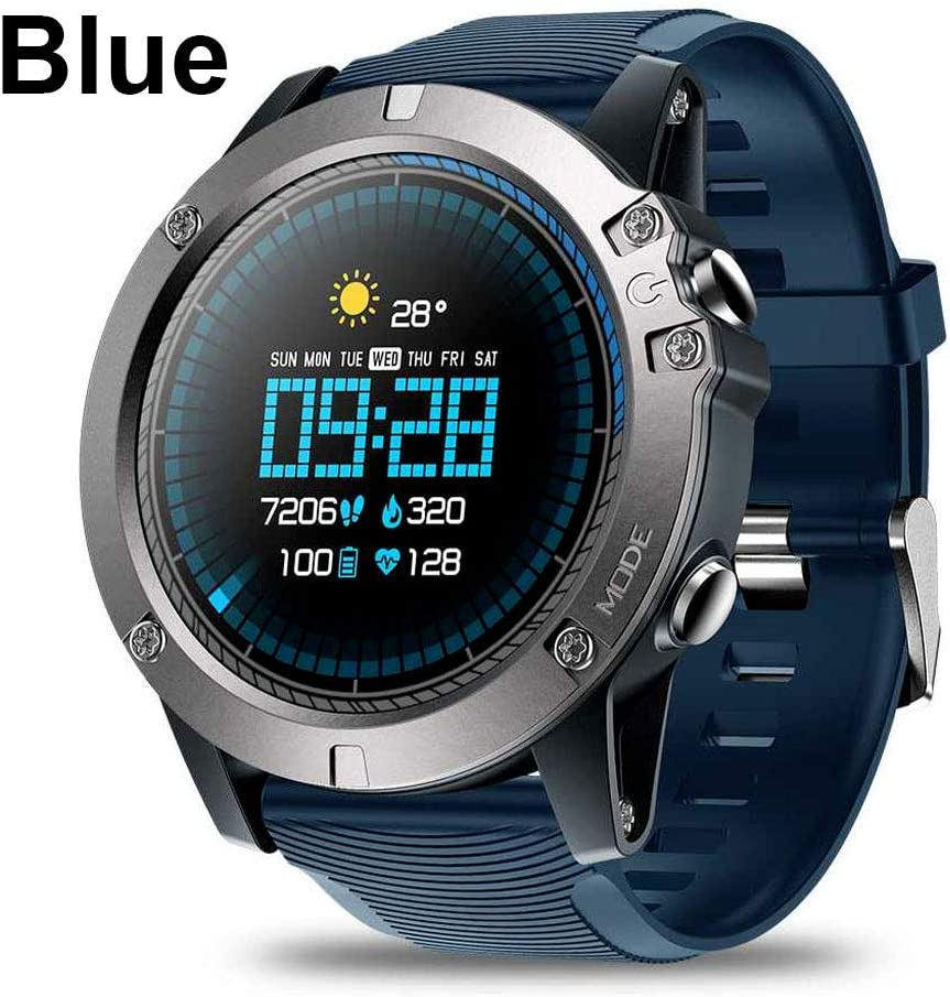 Smartwatch Tactical V5 Touch Screen Smart Watch Men Heart Rate Tracking Sports (Black) (Blue)