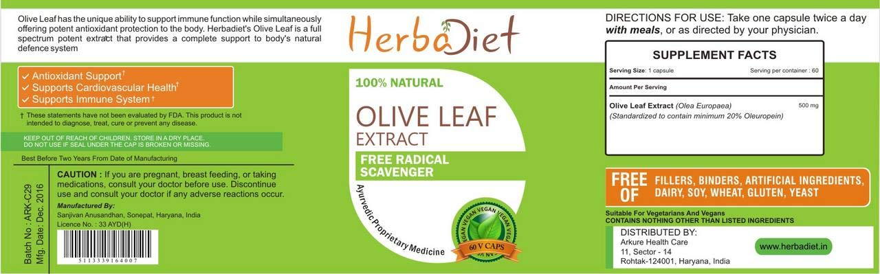 Pure Olive Leaf Extract 20% Oleuropein 500mg Capsules Antioxidant Immune Support (2 Capsules)