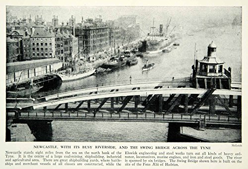 1938 Print Newcastle England Tyne River Crossing Riverside Historical View XGGD4 - Original Halftone - Riverside Crossing