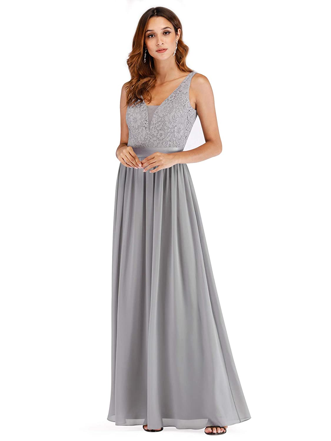de93a46fd319d Ever Pretty Womens Elegant Lace V Neck Floor Length A Line Long Chiffon Bridesmaid  Dresses 07516: Amazon.co.uk: Clothing