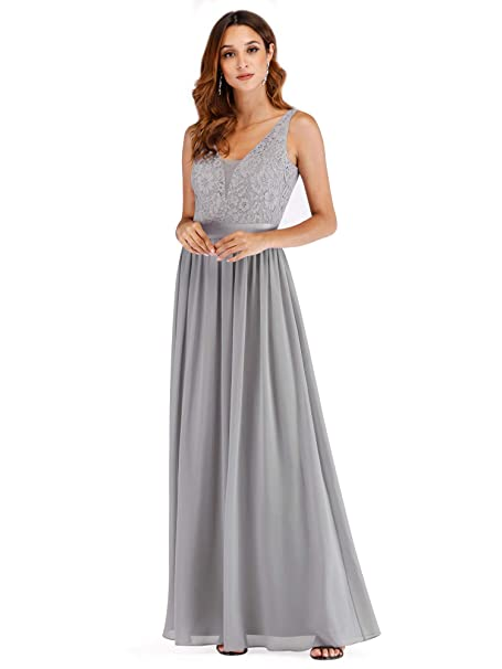 dc1571cd864 Ever Pretty Womens Elegant Lace V Neck Floor Length A Line Long Chiffon Bridesmaid  Dresses 07516  Amazon.co.uk  Clothing