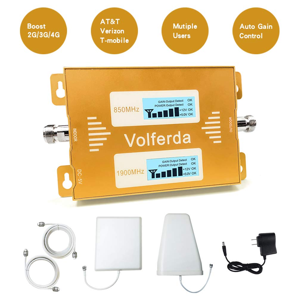 Volferda Cell Phone Signal Booster for 2G/3G/4G Verizon, T-Mobile, AT&T, 2G/4G U.S.Cellular for Home&Office Band2/Band5 Dual Band Signal Repeater Kits