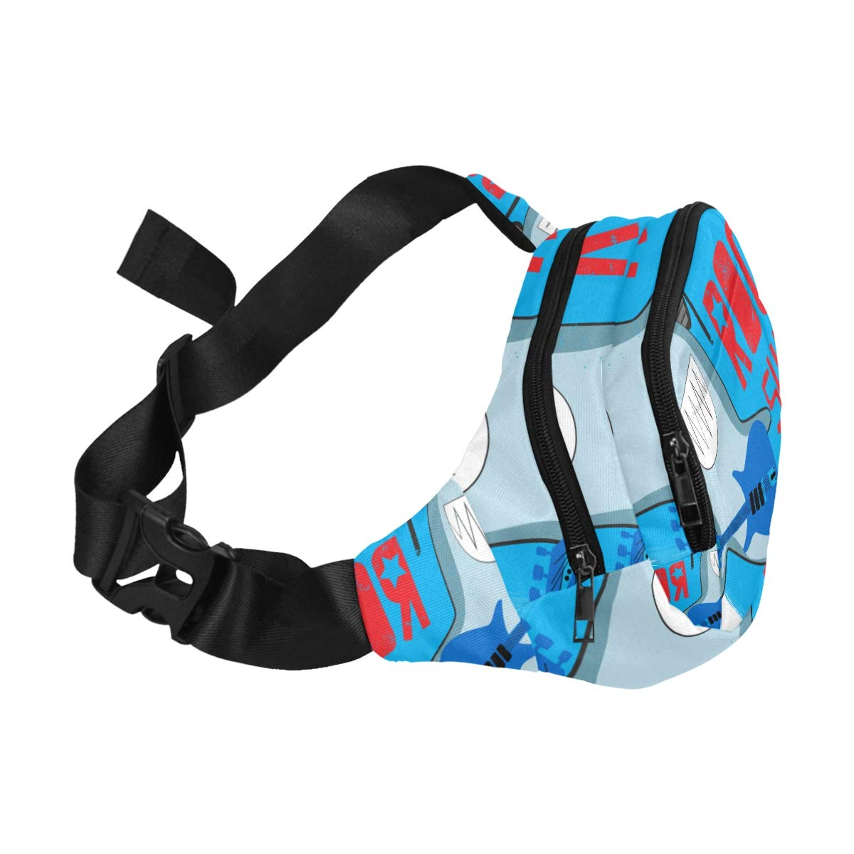 Cute Shark Listening To Music Fenny Packs Waist Bags Adjustable Belt Waterproof Nylon Travel Running Sport Vacation Party For Men Women Boys Girls Kids