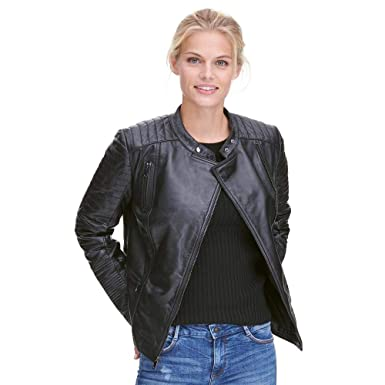 c70ddb24dee Wilsons Leather Womens Asymmetric Lamb Moto Jacket W Quilting Details at  Amazon Women s Coats Shop