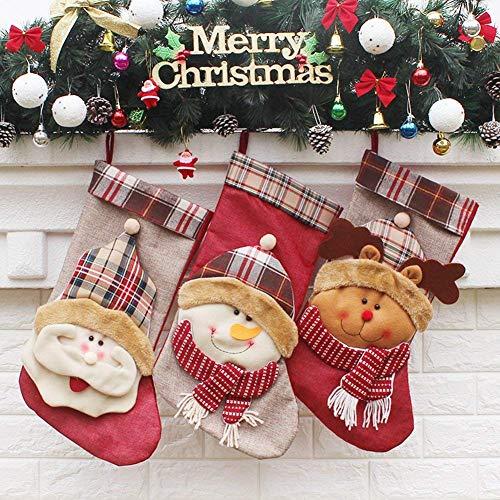 YAMUDA Big Size 18″ Christmas Stockings, 3 Pcs