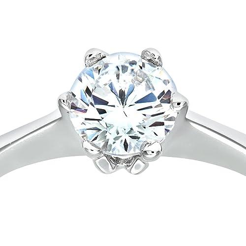 Citerna 9ct White Gold Stone Set Solitaire Ring I0Qxh