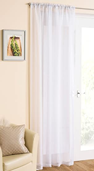 White Sparkle Voile Curtain Panel Slotted Top 54