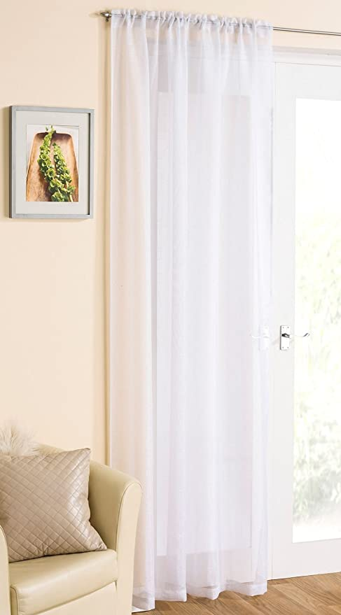 White Sparkle Voile Curtain Panel Slotted Top 54quot Wide X 90quot Drop 138cm