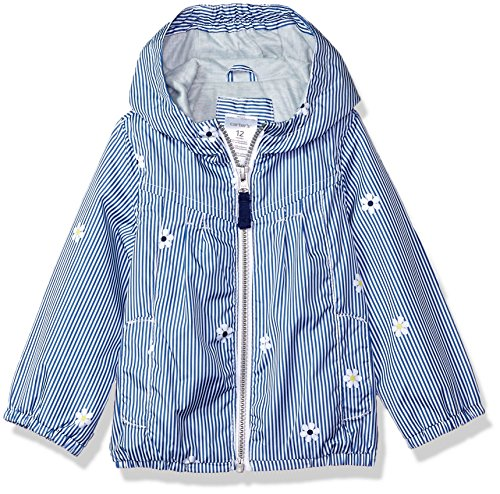 Carter's Baby Girls Zip Front Hooded Printed Windbreaker, Pinstripe Daisy, 12M - Infant Girl Carters Daisy