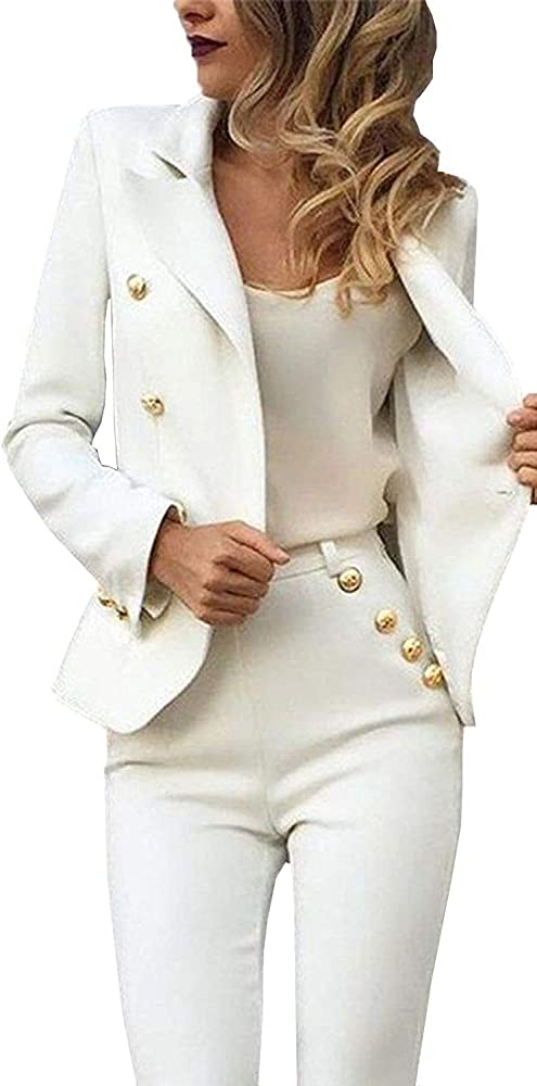 Amazon.com: Conjunto de 2 piezas de chaqueta Blazer de manga ...