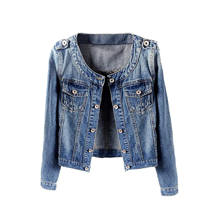 Amazon.com: Denim chaquetas Trendy Xu Mujer Retro Collarless ...