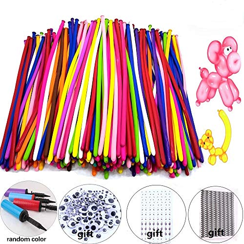 Y wang Magic Balloons Kits, 300Pack Animal Balloons Latex Modeling Twisting Balloons Long Balloons for Animal Shape Party, Clowns, Wedding Decoration(with Pump& Eye Sticker&Wiggle Eyes) -