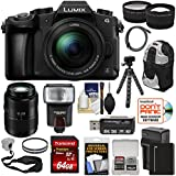 Panasonic Lumix DMC-G85 4K Wi-Fi Digital Camera & 12-60mm + 45-200mm Lens + 64GB Card + Battery + Backpack + Flash + Tripod + Tele/Wide Lens Kit
