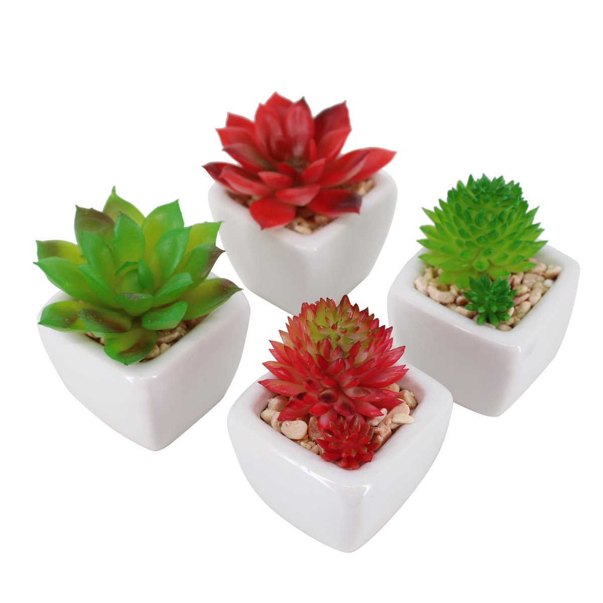 Pack of 4 Small White Ceramic Planter Pots with 4 different Artificial Succulent Plants for Home Decoration