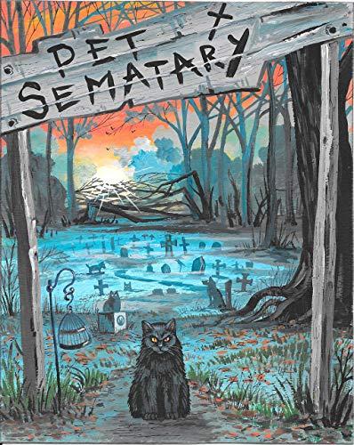 11x14 PRINT OF PAINTING RYTA FINE WALL ART MOVIE ILLUSTRATION ART PET SEMATARY CEMETARY STEPHEN KING BLACK CAT HALLOWEEN MOVIE TOMBSTONE HORROR