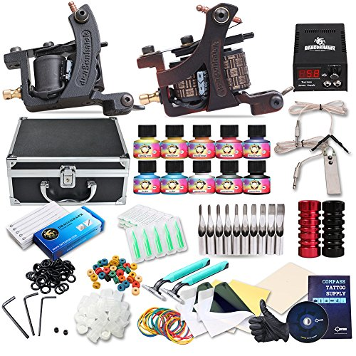 Hawk Kit (Dragonhawk Complete Tattoo Kit 2 Mate Machines 10 Color Immortal Inks Power Supply 50 Needles Tips Grips with Case)