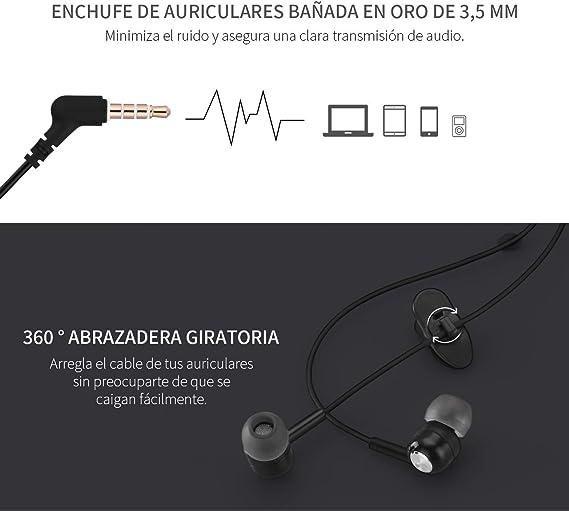 Mpow Auriculares En oreja Micrófono Estéreo 3.5mm, Auriculares con Control de Cable Remoto para Móvil, Reproductor MP3 Smartphones Huawei XiaoMi ...