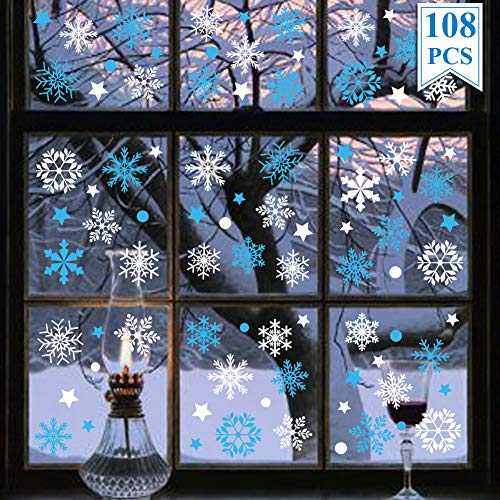 WEEPA Christmas Decorations Window Clings White and Blue Snowflake Window Stickers Stars Dots Winter Wonderland Window Decals Christmas Party Supplies (108Pcs)